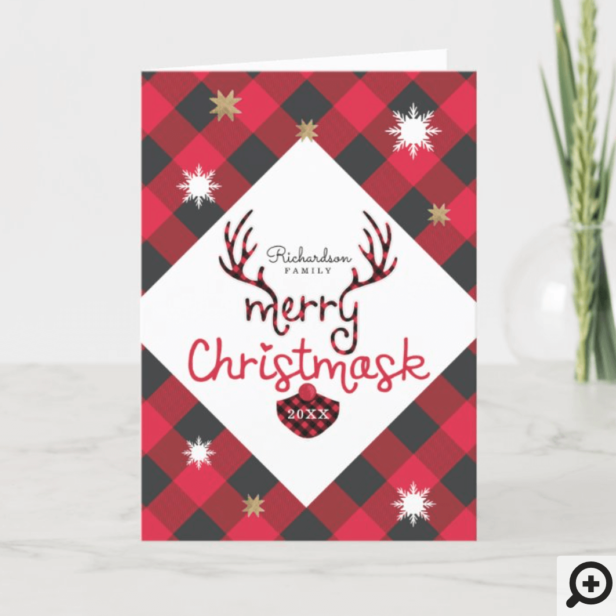 Merry Christmask Fun Red Plaid Reindeer Mask Covid Holiday Card