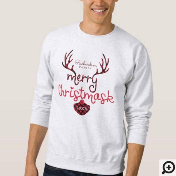 Merry Christmask Fun Red Plaid Reindeer Mask Covid Sweatshirt