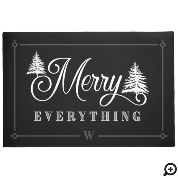 Merry Everything Black Pine Trees Family Monogram Doormat