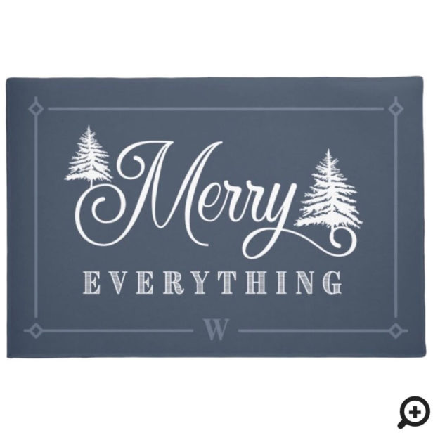 Merry Everything Blue Pine Trees Family Monogram Doormat