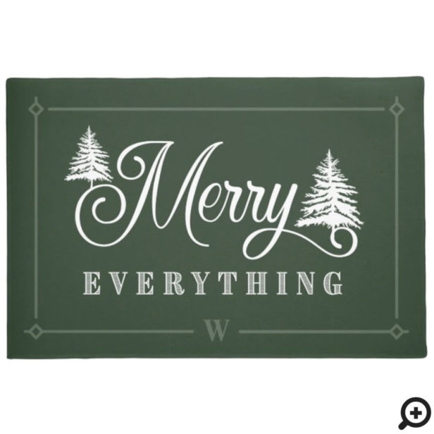 Merry Everything Green Pine Trees Family Monogram Doormat