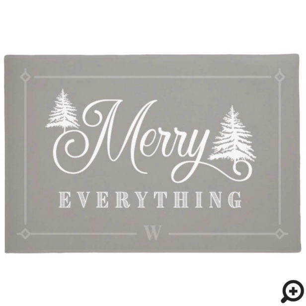 Merry Everything Grey Pine Trees Family Monogram Doormat