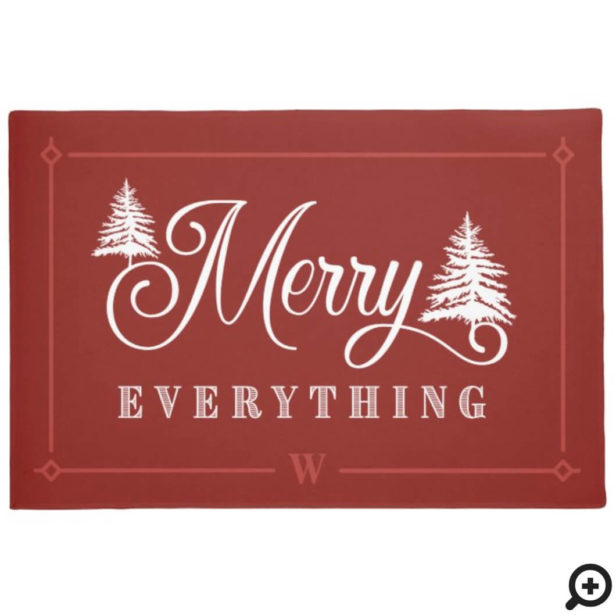 Merry Everything Red Pine Trees Family Monogram Doormat