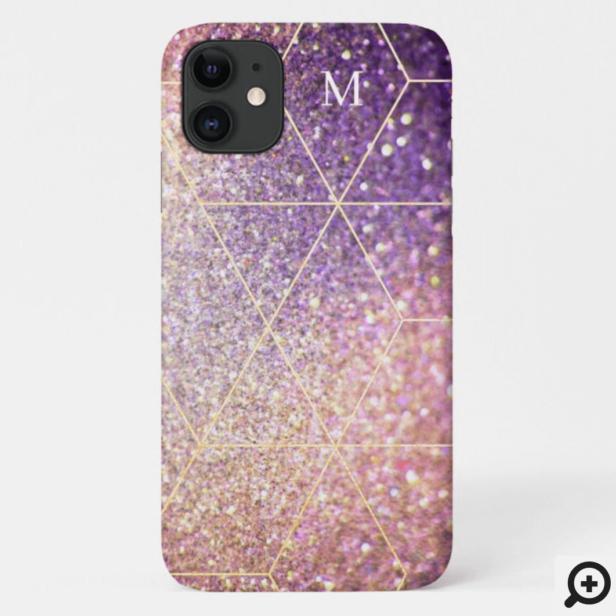 Modern Violet/Pink Texture Gold Pattern & Monogram Case-Mate iPhone Case