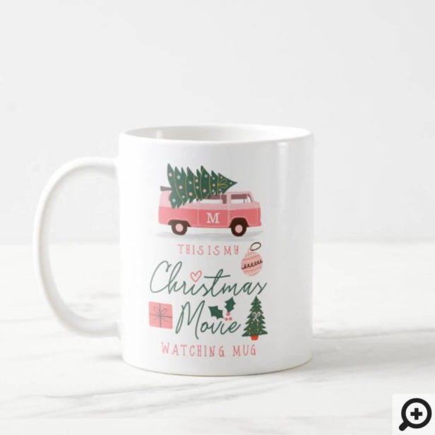 My Christmas Movie Watching Mug Pink Retro Van