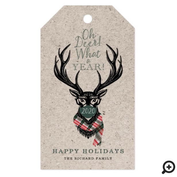 Oh Deer What a Year Reindeer Face Mask Candy Plaid Gift Tags