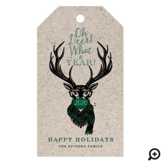 Oh Deer What a Year Reindeer Face Mask Green Plaid Gift Tags