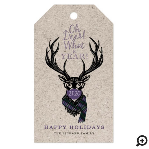 Oh Deer What a Year Reindeer Face Mask Mauve Plaid Gift Tags