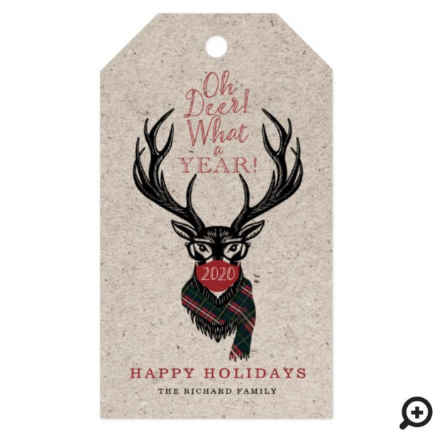 Oh Deer What a Year! Reindeer Face Mask Red Plaid Gift Tags