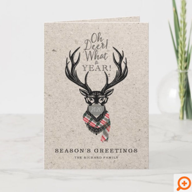 Oh Deer What a Year! Reindeer Plaid Scarf & Mask Holiday Card