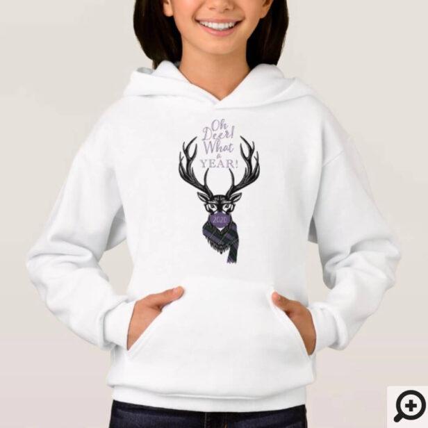 Oh Deer What a Year! Reindeer Plaid Scarf & Mask Hoodie