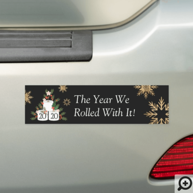 Rolled With It Funny Toilet Paper Christmas Tree Black Car Magnet