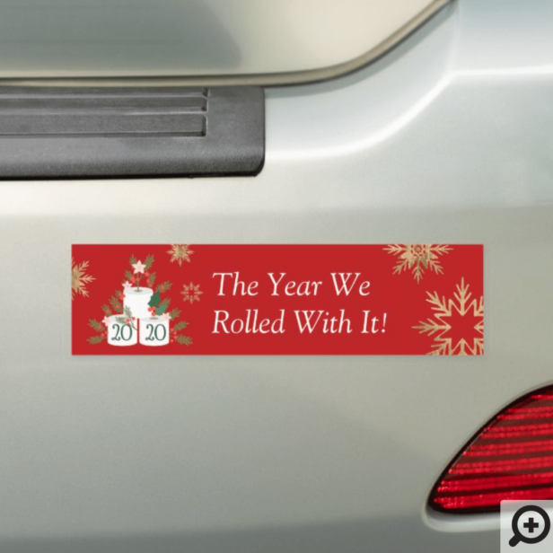 Rolled With It Funny Toilet Paper Christmas Tree Red Car Magnet