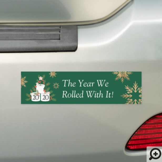Rolled With It Funny Toilet Paper Christmas Tree Green Car Magnet