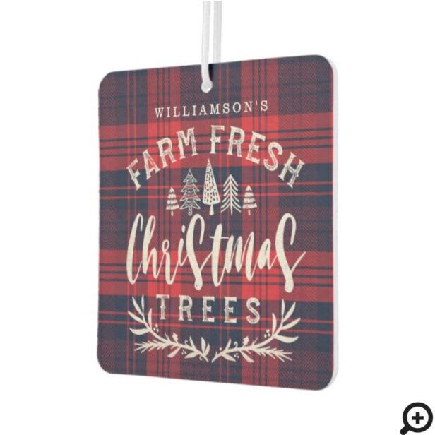 Rustic Red & Blue Plaid Farm Fresh Christmas Trees Air Freshener