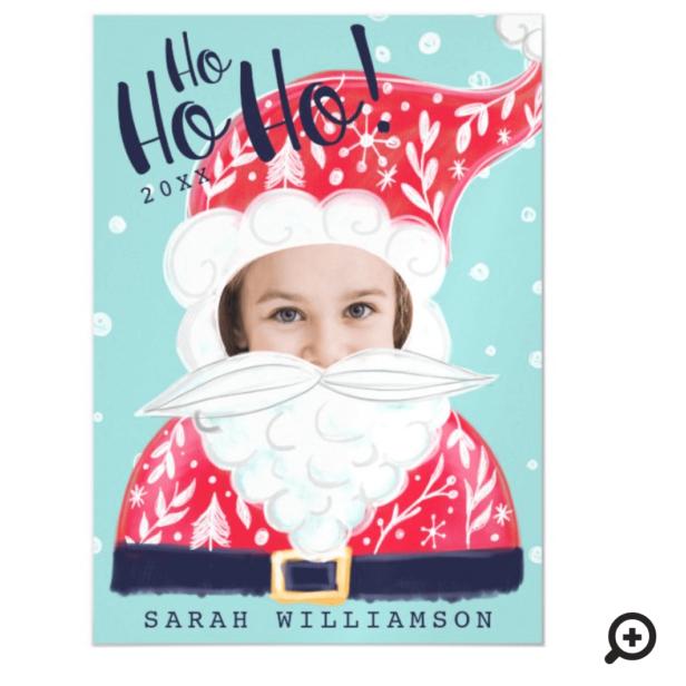 Fun Christmas Holiday Jolly Santa Claus Photo Card Magnet