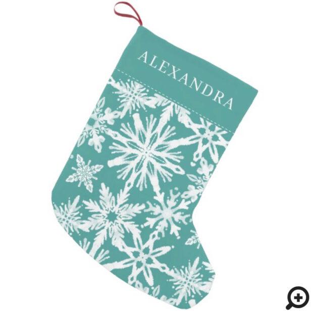 Shibori Snowflakes Tie Dye Aqua Blue Name Small Christmas Stocking
