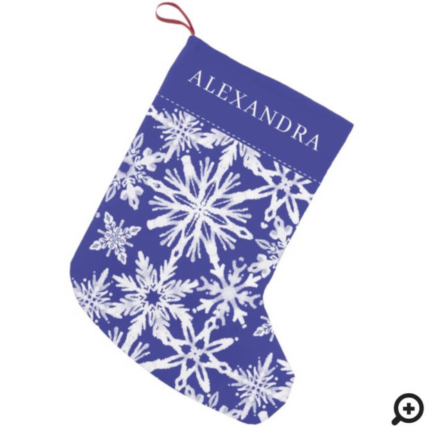Shibori Snowflakes Tie Dye Indigo Blue Name Small Christmas Stocking