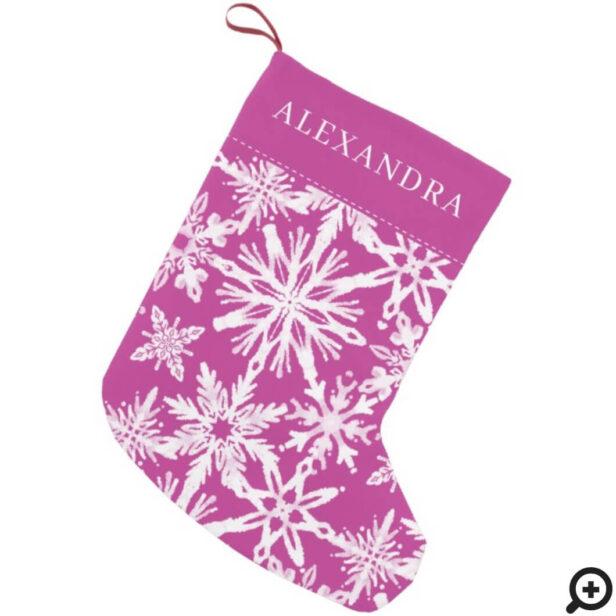 Shibori Snowflakes Tie Dye Magenta Pink Name Small Christmas Stocking
