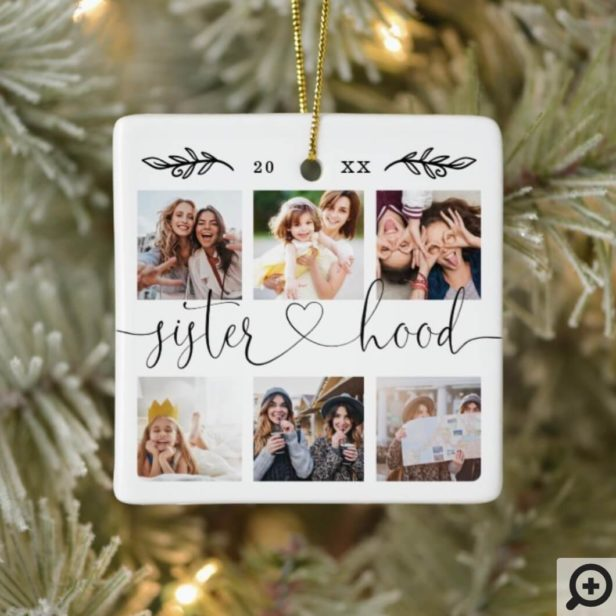 Sisterhood Script | Gift For Sisters Photo Collage Ceramic Ornament