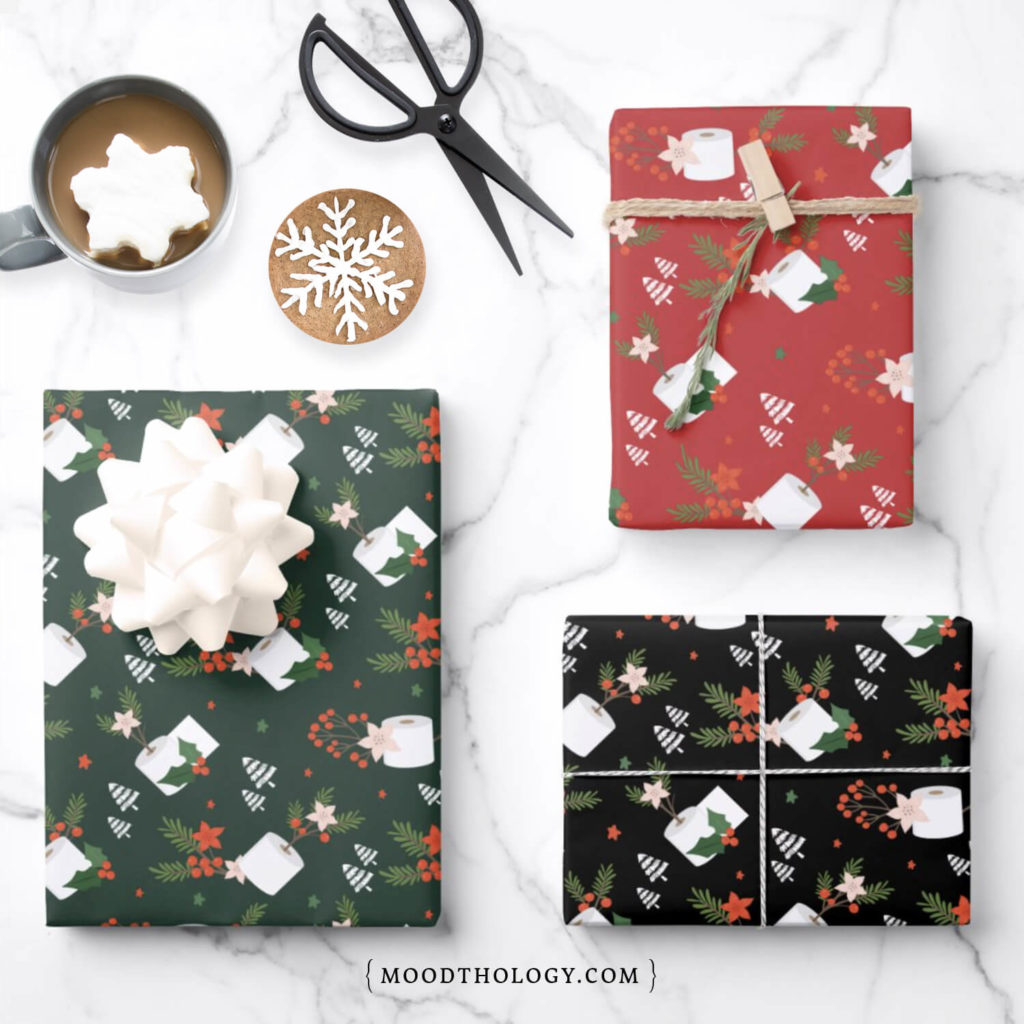 Covid-19 Themed Christmas Wrapping Paper By Moodthology Papery