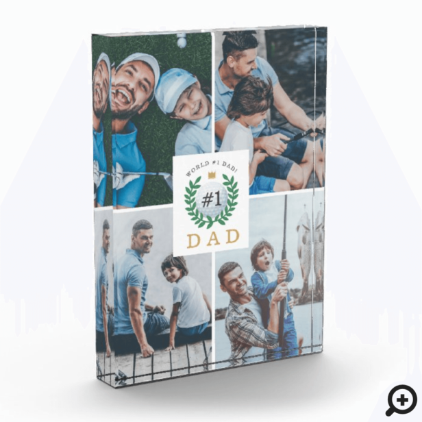 #1 Dad, Happy Fathers Day Golf Theme Photo Collage Photo Block