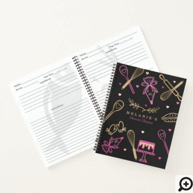 Baking & Cooking Utensil Black & Gold Recipe Notebook
