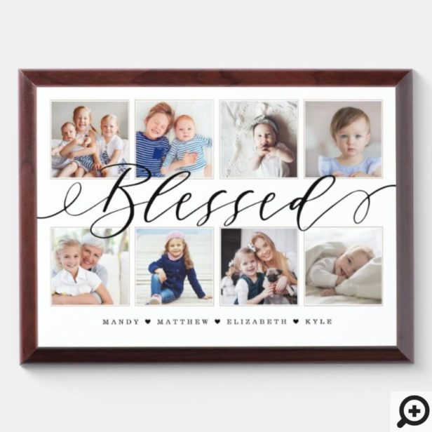 Blessed Modern Calligraphy | Family Photo Collage Wall Plaque