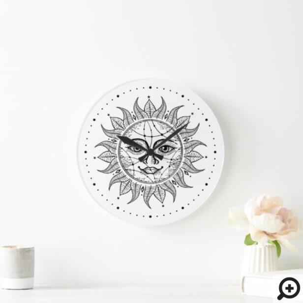 Celestial Sun Black & White Vintage Style Sun Face Large Clock