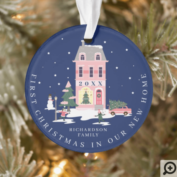 Christmas In New Home Cute Town & Pink Retro Van Ornament