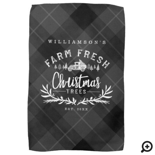 Christmas Tree Farm Vintage Truck Black Plaid Kitchen Towel