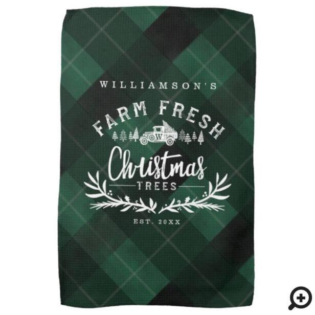 Christmas Tree Farm Vintage Truck Green Plaid Kitchen Towel