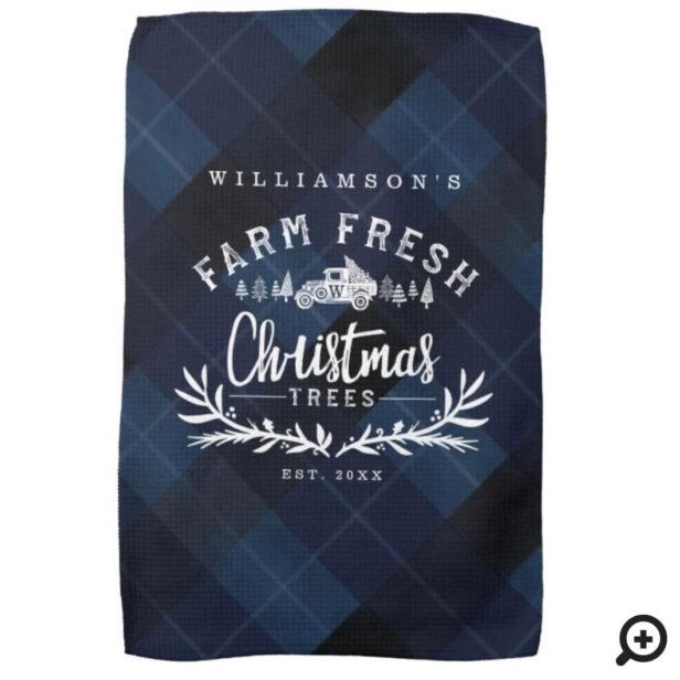 Christmas Tree Farm Vintage Truck Navy Blue Plaid Kitchen Towel