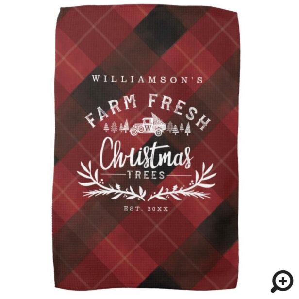 Christmas Tree Farm Vintage Truck Red Plaid Kitchen Towel