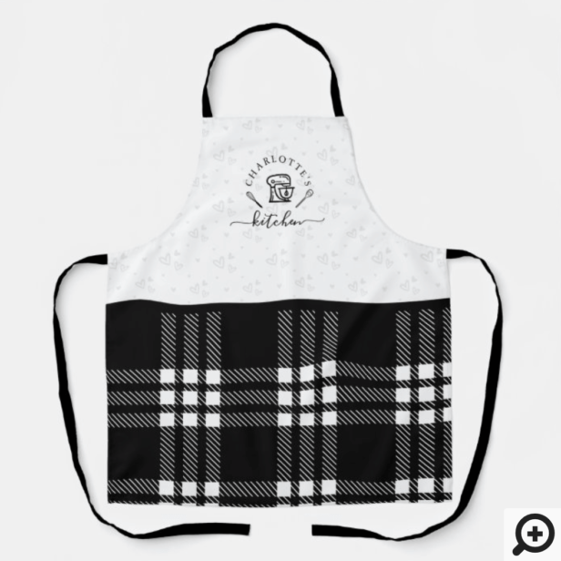Custom BlackPlaid Kitchen Whisk & Stand Mixer Apron