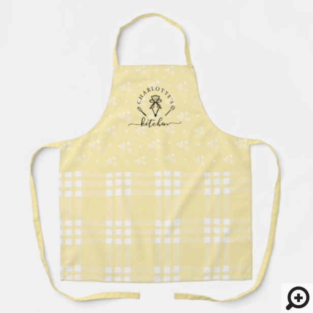 Custom Yellow Plaid Kitchen Whisk & Pastry Bag Apron