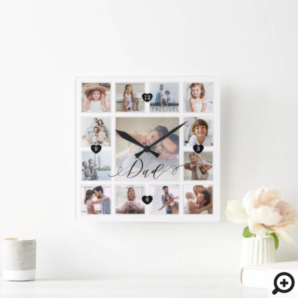 Dad Script Family Memory Photo Grid Collage Square Wall Clock