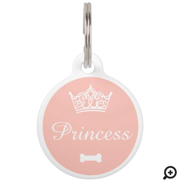 Elegant Princess Crown Blush Pink Dog Bone Pet ID Tag
