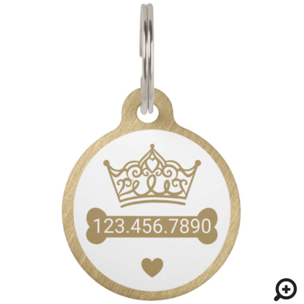 Elegant Princess Crown Gold Dog Bone Pet ID Tag