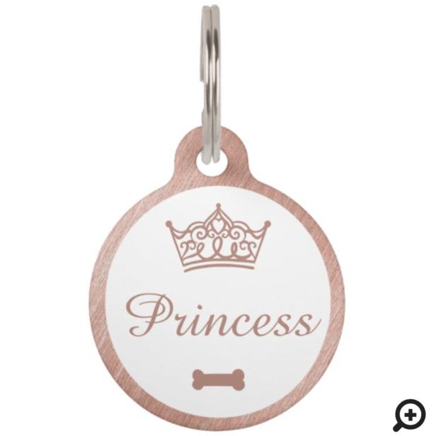 Elegant Princess Crown Rose Gold Dog Bone Pet ID Tag