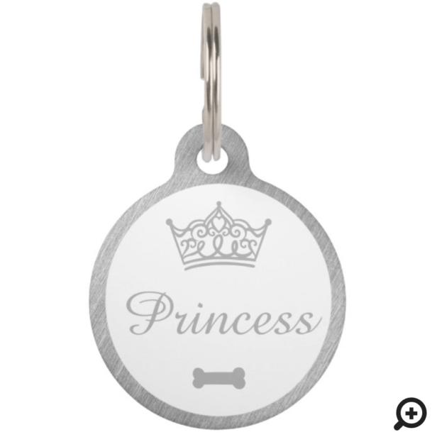 Elegant Princess Crown Silver Dog Bone Pet ID Tag