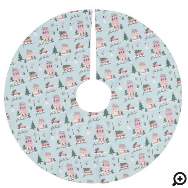 Fa La Home For The Holidays Town & Pink Retro Van Brushed Polyester Tree Skirt