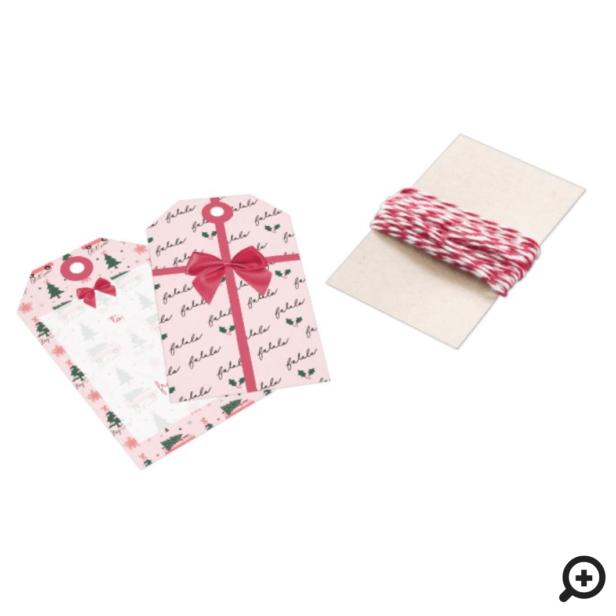 Fa La, Let It Snow Christmas Tree Pink Vintage Van Gift Tags