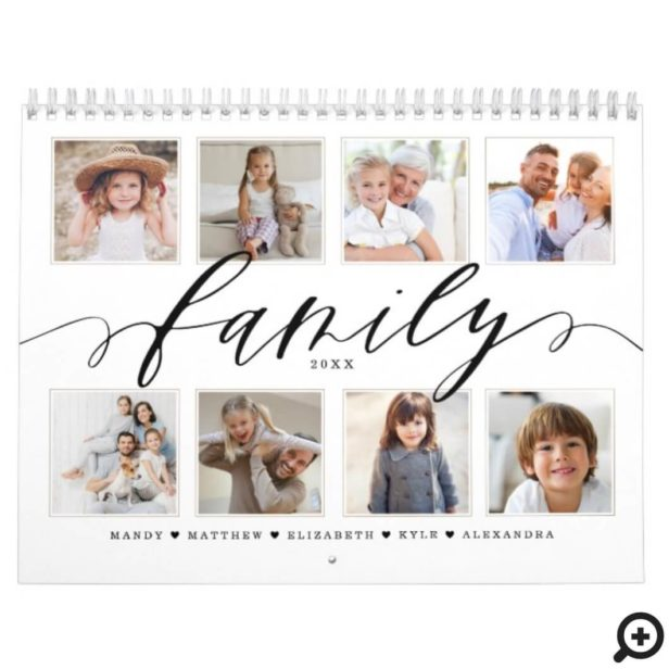 Family Modern Script | Family Photo Memories Calendar