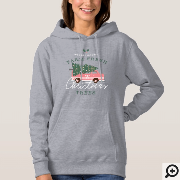 Family's Farm Fresh Christmas Trees Pink Retro Van Hoodie
