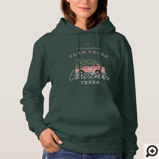Family's Farm Fresh Christmas Trees Pink Retro Van Hoodie Green