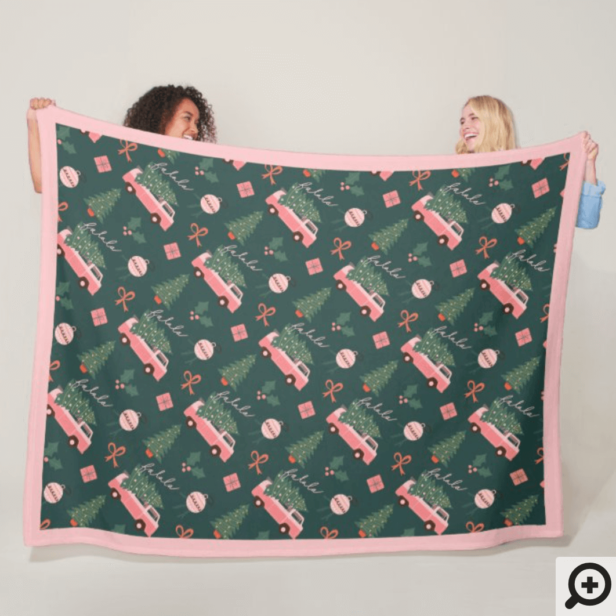 Festive Fala Christmas Tree Vintage Pink Retro Van Fleece Blanket