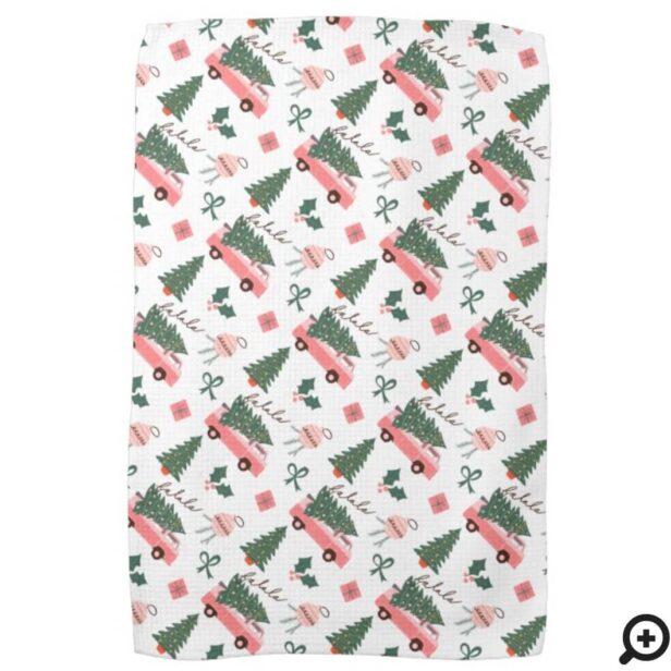 Festive Fala Christmas Tree Vintage Pink Retro Van White Kitchen Towel