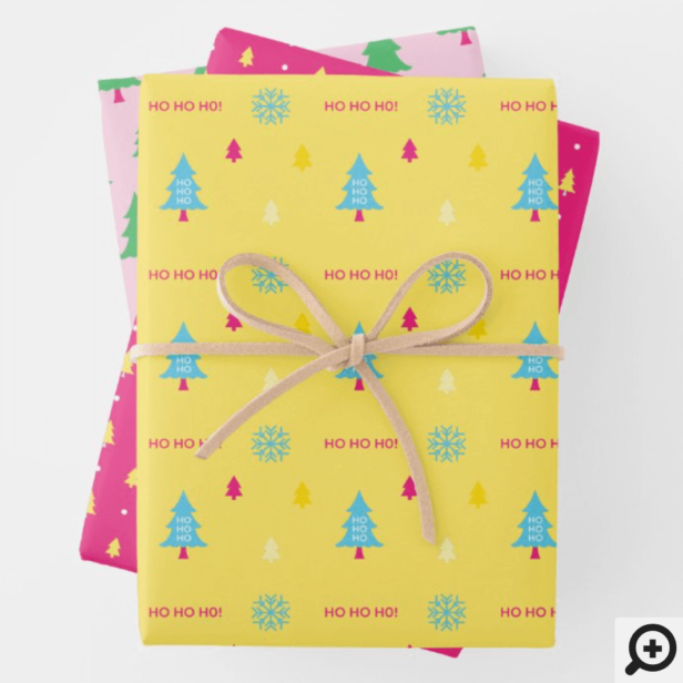 Festive & Fun Bright Neon Colourful Christmas Tree Wrapping Paper Sheets