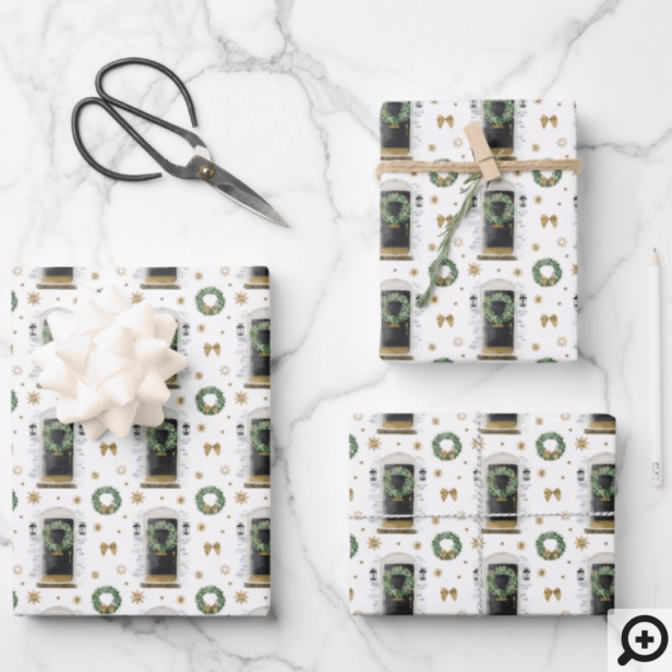 Festive Watercolor Black Front Door Pattern Wrapping Paper Sheets